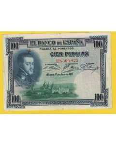 Billete 100 ptas 1 julio 1925 .Sello en seco
