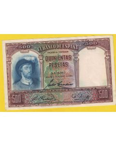 Billete 500 ptas 25 Abril 1931  ligero doble