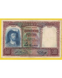Billete 500 ptas 25 Abril 1931 MBC