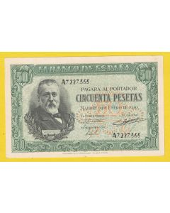 Billete 50 ptas 9 de Enero 1940