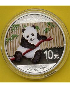 China Oso  Panda 2014 (1 Onza Plata 999 ) Coloreada