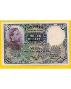 50 Pesetas, Madrid, 25 de Abril de 1931. EBC