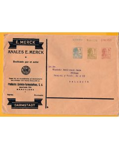 Sobre entero postal privado 1,2,5 Matrona laboratorios E. Merck