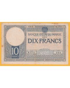 Lote billete Marruecos 10 fr. 1941