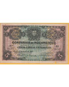 Billete mozanbique 5 libras 1934