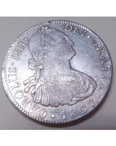 Carlos IV 1807 Mexico TH 8 Reales Plata