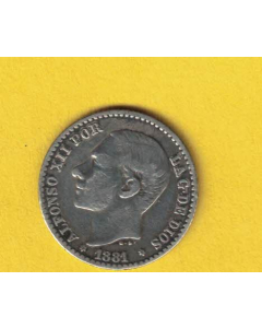 Alfonso XII  0.50 centimos 1881 *8  *1